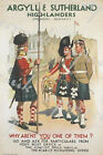 Vintage Argyll and Sutherland Highlanders Recruitment Poster A3/A4 Print