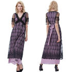 New Boho Women's Floral V-neck Beach Lace Party Evening Long Maxi Dress Sundress