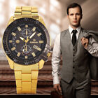 Mens Luxury Black Dial Gold Stainless Steel Date Quartz Analog Sport Wrist Watch