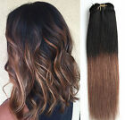 12 Inches Short Full Head Real Clip in Human Hair Extensions, Ombré Hairpieces