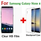 LCD Clear Film Guard Front Film +Clear Back Case Cover For Samsung Galaxy Note 8