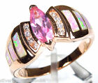 Rose Gold Plated  925 Sterling Silver Pink Topaz & Pink Fire Opal Inlay Ring