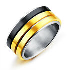 Three circles can be turned Stainless steel Gold silver Band Ring jewlery 7-11