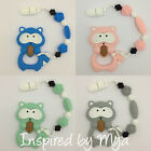 Silicone teether dummy clip soother baby chain raccoon teething toy sensory gym