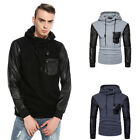 Casual Men's Long Sleeve Hoodie Hooded Sweater Sweatshirt PU Sleeve Outwear