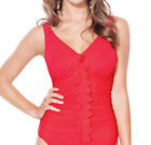 Profile Gottex Rapture D Cup Skirted Tankini Top Only Swimsuit NWT $94 Red 600