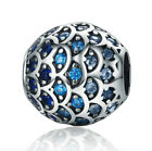 Genuine 925 Sterling Silver Charm Blue Ocean Daughter Topaz For Bracelet Pendant