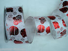 WHITE -RED FOILED CHRISTMAS BAUBLES SPARKLE WIRE  WIRED RIBBON 63MM WIDE 5M & 1M