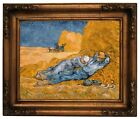 van Gogh Noon Rest from Work Wood Framed Canvas Print Repro 11x14