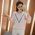 Women Casual V Tassel Hem Splice Crew Neck Long Sleeve Slim Fit Pillover Blouses
