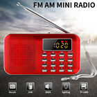 Portable Digital FM AM Radio Antenna World Band MP3 Speaker AUX USB TF LED Light