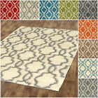 Moroccan Trellis Shag Area Rug - Blue Green Ivory Red Brown Beige - 5x7 3x5 2x2