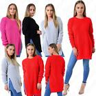 Womens Ladies Round Neck Double Slit Round Neck Long Fishnet Knitted Jumper