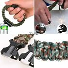 Flint Fire Starter Paracord Survival Bracelet Outdoor Compass Whistle Rope Gear