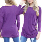 Womens Long Sleeve Loose Button Decor Trim Blouse Round Neck Tunic T-Shirt Top