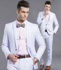 Mens Tuxedos White Formal Wedding Suits One Button Slim Fit Jacket Pants