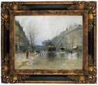 Boggs Paris Street Scene 1893 Wood Framed Canvas Print Repro 11x14