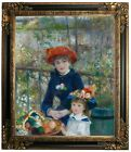 Renoir Two Sisters On the Terrace 1881 Framed Canvas Print Repro 20x24