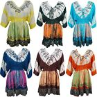 BOHO HIPPY GYPSY WOMENS TUNIC TIE DYE COVERUP EMBROIDERED BEACHWEAR SUNDRESS