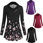 Women's Cowl Neck Tops Loose Fit Shirt Stretchy Casual Long Sleeve Blouse
