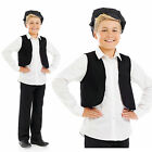 Childrens Victorian Boy Black Cap &Waistcoat Fancy Dress Costume Outfit 6-12 Yrs