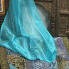 2 Moroccan Curtains Organza Turquoise Golden Border Sheer Drapes Window Panel