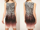 New KAREN MILLEN Animal Print BNWT £160 Evening Party Pencil Cotton Shift Dress