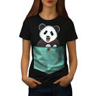 Wellcoda Cute Lil Panda Womens T-shirt, Pocket Bear Casual Design Printed Tee