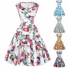 1950s 60s Floral Swing Vintage Retro Dress Housewife Pinup Evening Party Dresses