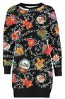 Ladies Snowman Penguin Ginger Bread Gift Bag All Over Print Long Tunic Top 8-22