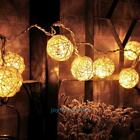 1.2M 10LED Rattan Ball LED String Lighting Wedding Party Christmas Curtain Light