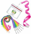12 Pack - Specialist ID Bright Neon Lanyards w/ Horizontal Ziplock Badge Holders