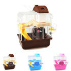 Newest Hamster Rat Small Pet Cage 2 Floor Storey Wheel House w/ Spinning Bottle