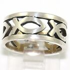 James Avery Continuous Ichthus Open Cut Eternity Ring Band Sterling Silver FZ