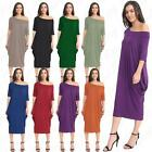 Womens Ladies Baggy Off Shoulder Bardot 2 Pocket Oversized Midi Parachute Dress