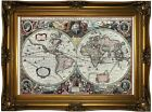 Map of two hemispheres by Hondius 1630 Wood Framed Canvas Print Repro 19x28