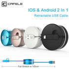 3X 2 in 1 Retractable USB Charging Cable Cord For Samsung Android Apple iPhone 8