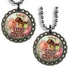 Big Sister Bottle Cap Necklace Handcrafted Flower Fairy Girls Gift Clear Glitter