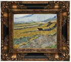 van Gogh Enclosed Field with Ploughman 1889 Wood Framed Canvas Print Repro 8x10