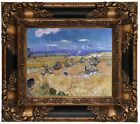 van Gogh Wheat Stacks with Reaper 1888 Wood Framed Canvas Print Repro 8x10