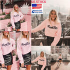 womens crew neck jumpers - US Womens Letter Print Crew Neck Crop Top Long Sleeve Jumper Pullover Tee Shirt