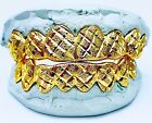 STERLING SILVER W/ 18K YELLOW GOLD PLATED PRINCESS DUST CUT GRILL GRILLZ Grillz, Dental Grills - 152808