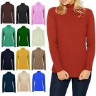 Womens Ribbed Polo Neck Jumper Ladies Long Sleeve Warm Knitted Stretch Top