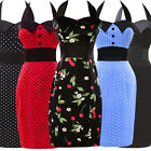 Cheap! Vintage 1950s Pinup Housewife Halter PROM HALTER Retro Pencil Dress 6-20
