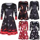 Womens Xmas Christmas Santa Retro Skater Ladies Snowman Swing Dress Plus Size