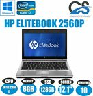 "HP ELITEBOOK 2560P 12.1"" LAPTOP INTEL CORE i7 2620M 8GB RAM 128 SSD W10 WEBCAM"