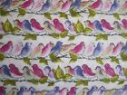 Songbirds in pink, green and purple 100% cotton fabric from Michael Miller