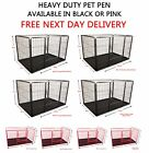 New Heavy Duty Pet Dog Puppy Play Pen Whelping Enclosure Box Run Cage Pink Black
