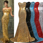 Hot Golden Lady Mermaid Sequins Formal Wedding Bridesmaid BallGown Evening Dress