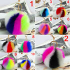 Soft Imitation Rabbit Fur Ball PomPom Key Chain Cars Multicolor Pendant Handbags